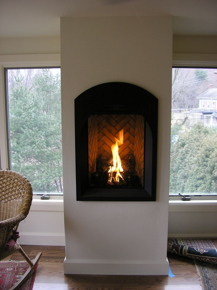 gas fireplace in small space