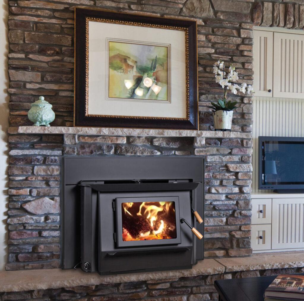 Wood Fireplace Insert with Stone Surround