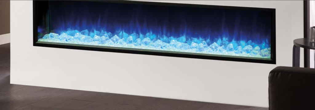 Regency electric fireplace blue ice crystals